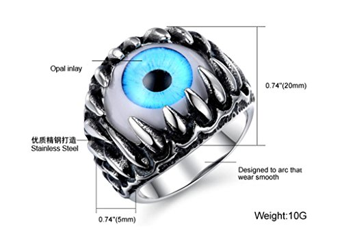"""TIDOO Jewelry New Fashion Men's Stainless Steel Ring Black Silver Classic Vintage Rock Retro Style Dragon Claw Evil Devil Eye Gothic Biker Band """"The Ring for knight"""""""
