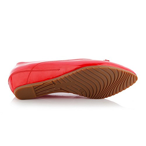 Closure Womens Toe SDC03757 AdeeSu Shoes No Urethane Urethane Pumps Red Pointed q6n7E
