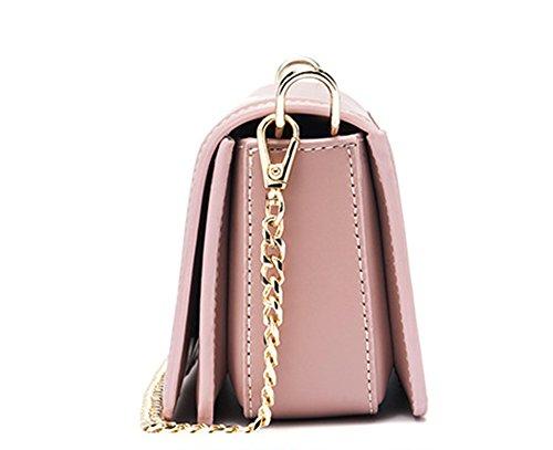 Bolsos de señora Xinmaoyuan Pu cadena hombro bolsa hembra pequeño cuadrado Bolso Messenger,Rosa Rosa