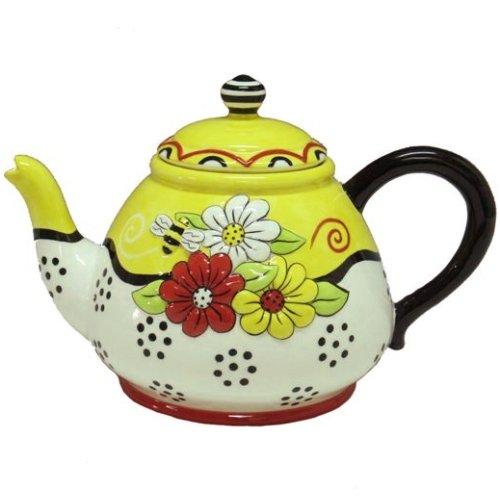 Bumble Bee Flower 48 Ounce Ceramic Teapot