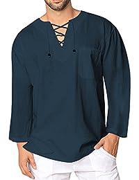 Mens Fashion T Shirt Cotton Tee Hippie Shirts Long Sleeve Yoga Top