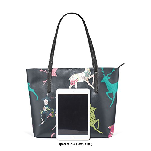 Totes Women's Shoulder PU Christmas Handle Fashion Bags Handbag Top Purses TIZORAX Leather Deer xRSWnW4Z