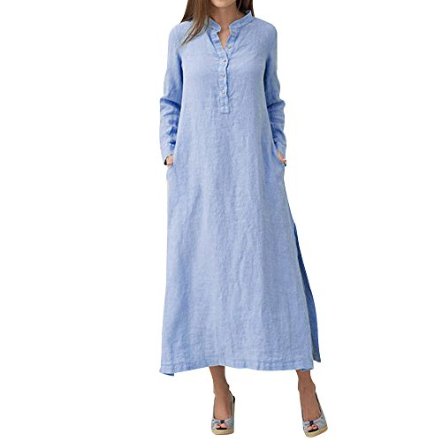 DEATU Womens Long Dress Ladies Kaftan Cotton and Linen Long Sleeve Casual Maxi Plain Long Dress(Blue,XL) -
