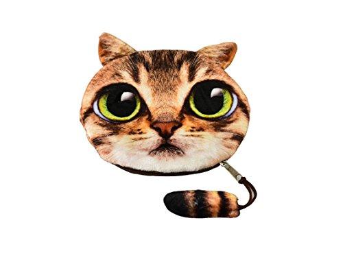 Cute Cat Face Zipper Coin Purse Money Wallet Handbag by Our Pet Stuff (Brown Cat - Green - Small Face Cat