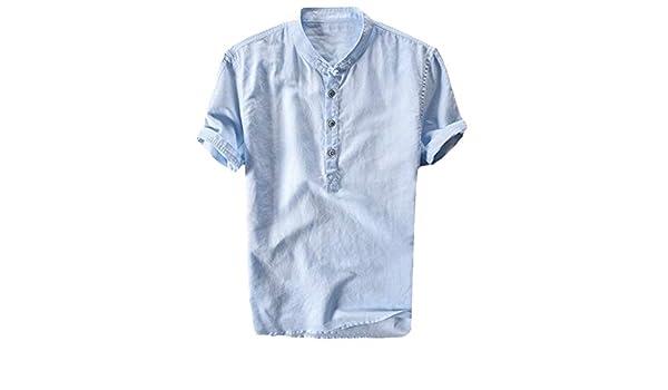 AG&T Camisetas Hombre Manga Corta Color Puro Algodón de Cáñamo Botón Blusa Hombre Verano 2019 Casual Tops TamañO Chaqueta Tops: Amazon.es: Deportes y aire libre
