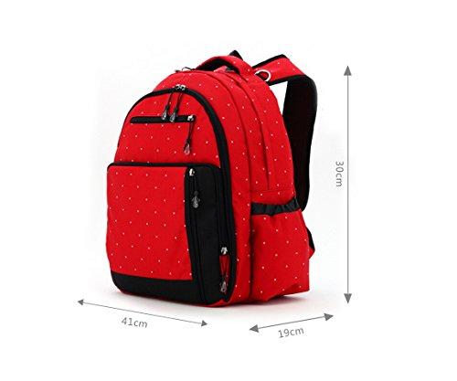 Aivtalk Bolso Maternal Mochila Multifunción Cambiador de Pañales Backpack para Carro Carrito de Bebé Biberón Botella Comida Viaje 30cm(L) x 19cm(W) x 41cm(H) - Floral Lunares Rojo Lunares