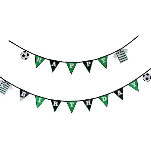 1 Set Soccer Happy Birthday Banner Flag Football Banner Sports Theme Party Banner for Kid's Room Boys Photo Prop Decor SUNBEAUTY (Birthday) ()
