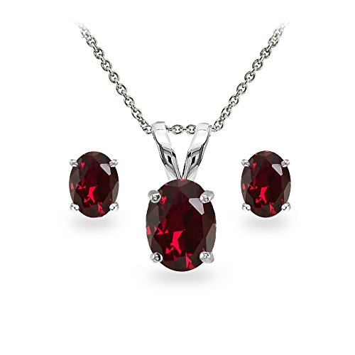 Sterling Silver Created Ruby Oval-cut Solitaire Necklace and Stud Earrings (Gemstone Ruby Necklace)
