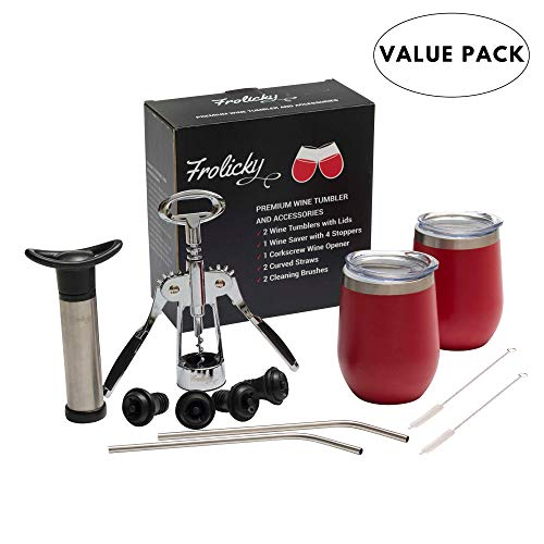 12 oz Stainless Steel Stemless Wine Tumbler with Lid, Double Wall Vacuum Insulated Set of 2 with Curved Straws, Cleaning Brushes, Wine Saver & Stoppers, and Wine Opener, Red - VALUE PACK