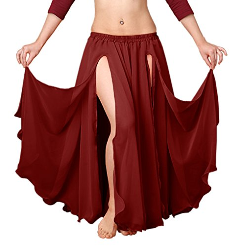Indian Trendy Chiffon Double Layer 2 Font Slit Skirt Belly Dance Tribal Panel Jupe Rock (One Size, Maroon)
