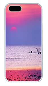 Sunset And Fishing PC Case Cover Protector for iPhone 5 and iPhone 5S White