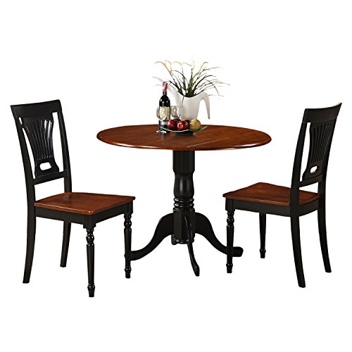 (East West Furniture DLPL3-BCH-W 3-Piece Kitchen Table and Chairs Set, Black/Cherry Finish)