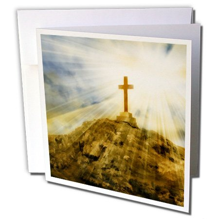 3dRose Doreen Erhardt Inspirational - Gold Cross on the Top of a Hill with Sun Rays for a Spiritual Feel - 12 Greeting Cards with envelopes -
