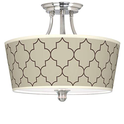 (Tangier Taupe Tapered Drum Giclee Ceiling Light - Giclee Gallery)