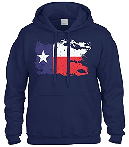 Cybertela Faded Distressed Texas Lone Star Flag Sweatshirt Hoodie Hoody (Navy Blue, Small) (Hoodies Texas)