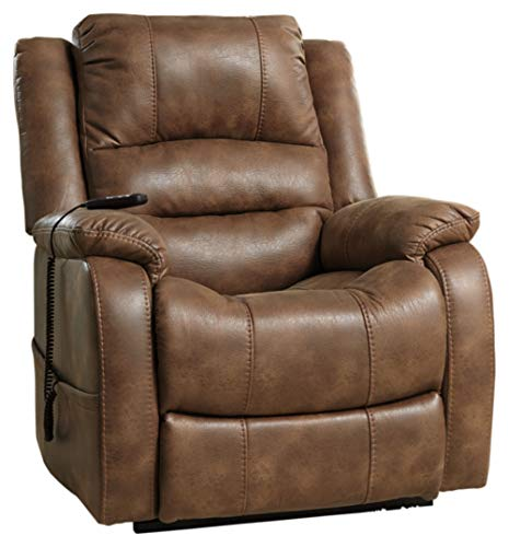 (Ashley Furniture Signature Design - Yandel Power Lift Recliner - Contemporary Reclining - Faux Leather Upholstery - Saddle)