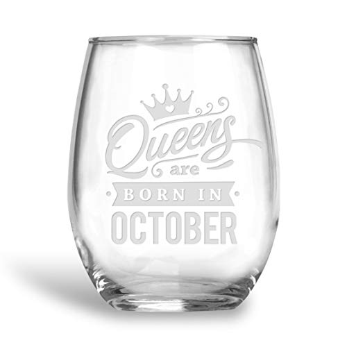 BadBananas Queens Are Born In October - Birthday 21 oz Engraved Large Stemless Wine Glass with Etched Coaster Gift for Libra or Scorpio