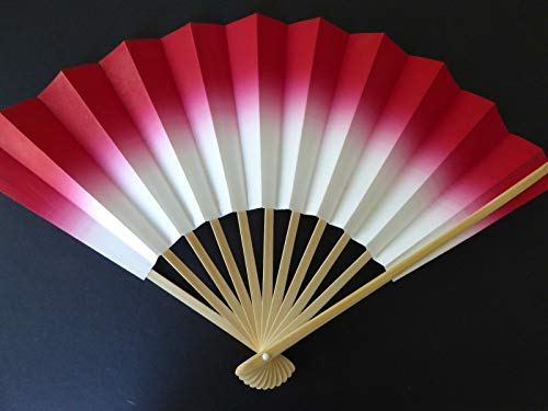 YokohamaUSA Japanese Odori Dance Sensu Folding Fan Red/Made in Japan