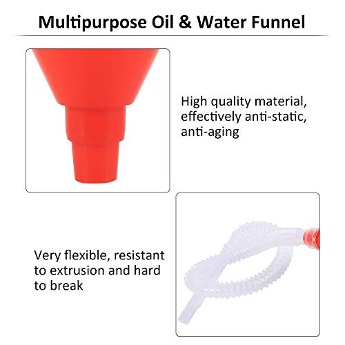 8cm Wide Mouth Fuel Funnel Universal Automotive Vehicle Plastic Filling Funnel Long Flexible Spout Extension Car Funnel for Water Gasoline Coolant Transmission Engine Oil (5pcs) by Keenso (Image #4)