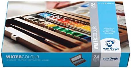 Van Gogh - Juego de acuarelas (24 colores, estuche de madera con pincel y paleta de mezclas)