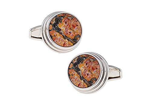 Epinki Cufflinks for Men Dark Yellow Round Marble Pattern Cufflinks Tuxedo Shirts Business Wedding ()