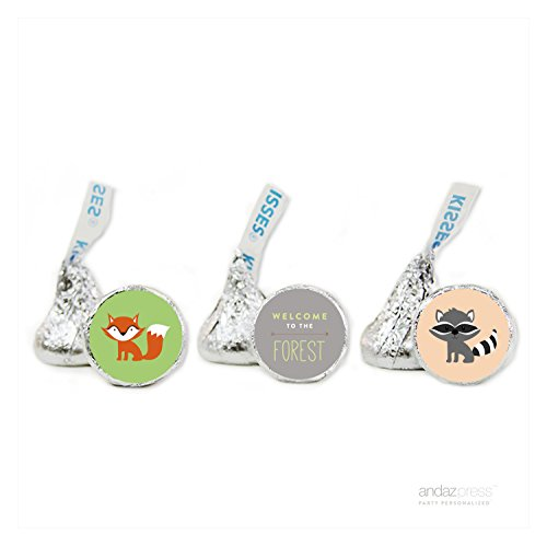 Andaz Press Woodland Friends Birthday Collection, Welcome to the Forest Chocolate Drop Labels Trio, Fits Hershey's Kisses, ()