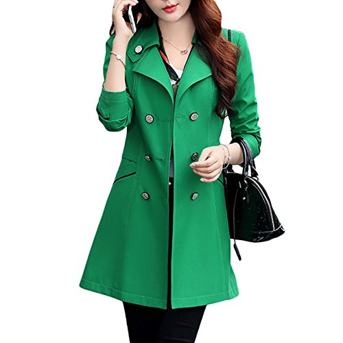Verypoppa Women's Double Breasted Lapel Thin Trench Coats Jackets (US 6/8, Emerald Green)