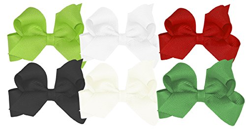 Wee Ones Girls' Mini Bow 6 pc Set Solid Grosgrain Variety Pack on a WeeStay Clip - Apple Green, White, Red, Black, Antique White, Green