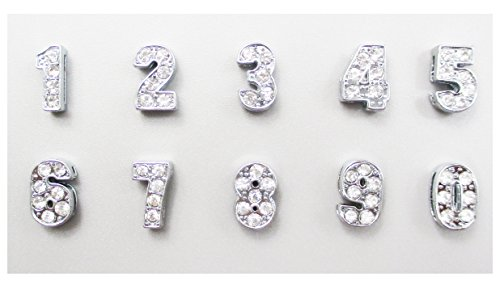 ALL in ONE 0-9 10pcs Rhinestone Digit Number Slide Charms Beads 8mm