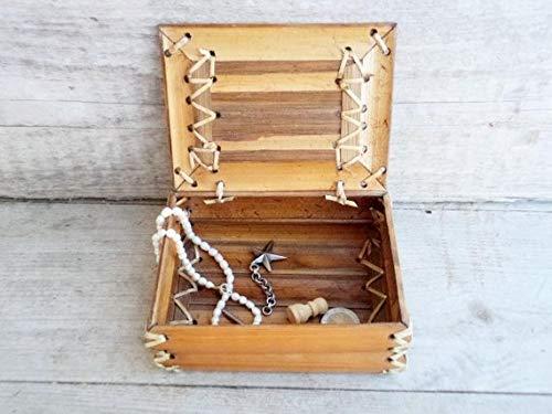 Vintage Bamboo Box, Bamboo Wooden Box, Bamboo Jewelry Box, Bamboo Storage Box, Bamboo Sewn with Straw Box
