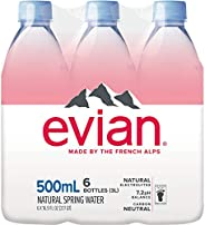 Evian Agua Natural 500 mililitros, 6 botellas en total