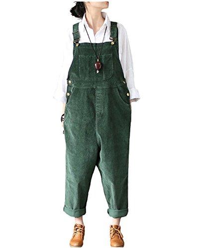 (Aeneontrue Women's Casual Corduroy Bib Overalls Wide Leg Pants Jumpsuits Rompers with Pocket Green)