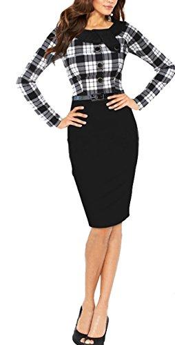 Women BAIMIL Casual Dress Cocktail Work Long Bodycon Business 1 Black Sleeve Elegant 4UqSxdHU