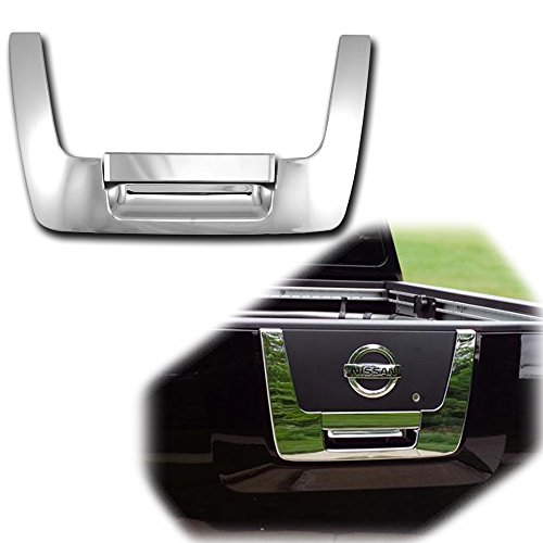 (AutoModZone Chrome ABS Tailgate Rear Panel Door Handle Lower Cover 2pc for 04-12 Nissan Titan)