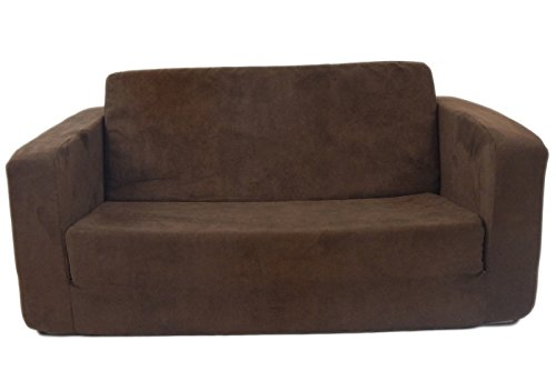 Fun Furnishings 55247 Toddler Flip Sofa in Micro Suede Fabric, Chocolate