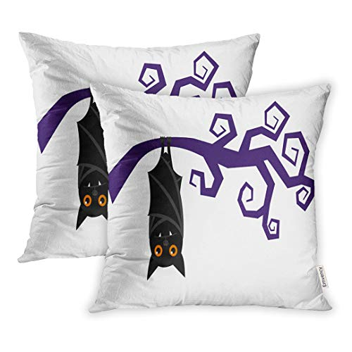 Emvency 16x16 Inch Decorative Set of 2 Throw Pillow Cover Happy Cartoon Bat Hanging On Tree Branch Sleeping Halloween Vampire Night Square Home Cushion Sofa Two Sides Pillow -