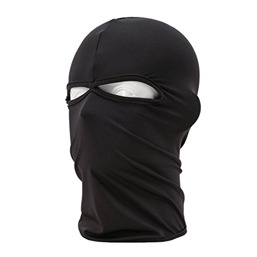 Unisex Motorcycle Cycling lycra Balaclava Full Face Mask for Sun UV Protection (Black)