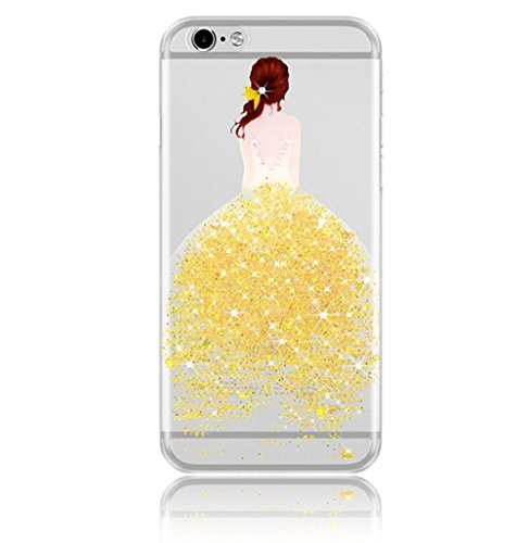 Vandot Bling Funda para iPhone 7 Plus, 3D Crystal Glitter Rhinestone Carcasa Suave TPU Silicona Tapa Claro Cristal Transparente Cubierta Caja de Protección Resistente a Arañazos Choque Absorción para  D Girl 16