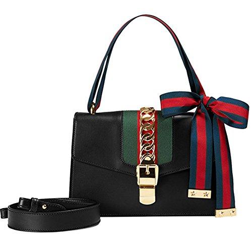 cuir Size Femme MC sac Black Red bandoulière Macton Small Large bandoulière Size 9008 véritable sac à x64IdFB