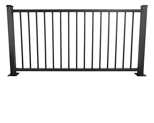 Deckorators ALX Classic Complete Aluminum Railing Kit with Estate Balusters Matte Black 6 Ft Horizontal Rail