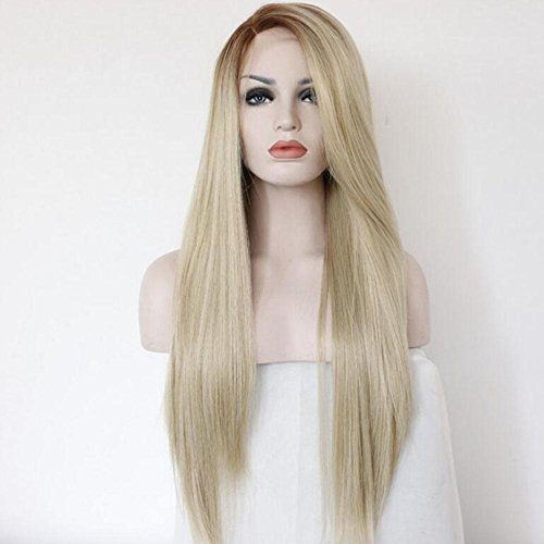 XUAN Lady Wigs Long Lace Straight Hair Brown Linen Gradient Hand-Made Wig In The Long Straight Hair Straight Can Roll by wig