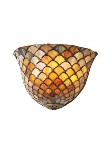Tiffany Scale - Meyda Tiffany 99197 Solid Brass Fishscale Tiffany Single Light Up Lighting Wall Washer from the Fishscale Collection