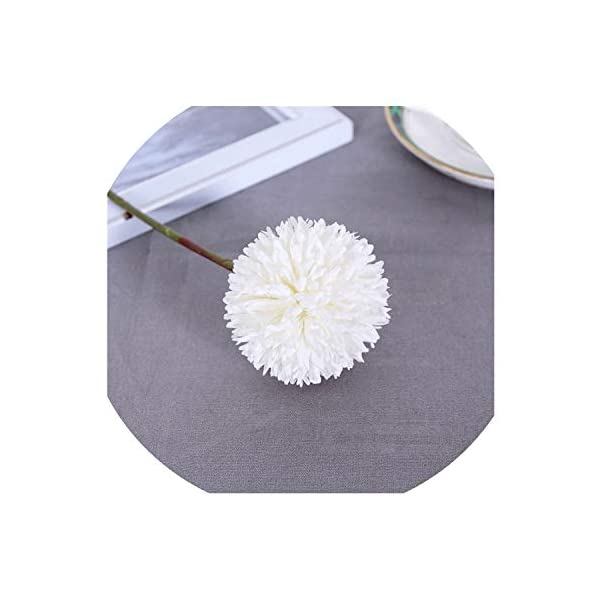 SATOSHI DUN Artificial Chrysanthemum Flower Ball Bud Fake Flower Branch Home Decor for Wedding Home Decoration,White