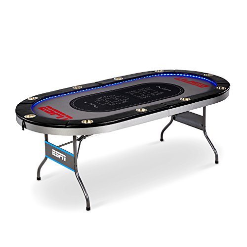 ESPN 10 Player Premium Poker Table With LED - Table Poker