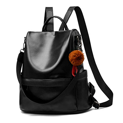 Women Backpack Purse PU Leather Anti-theft Casual Shoulder Bag Fashion Ladies Satchel School Bag(Black)
