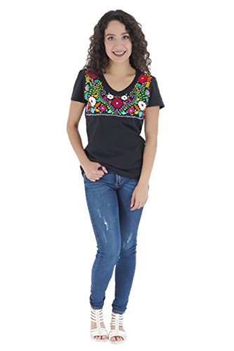 Uipil Womens Mexican T-Shirt Tehuacan CT Large Black 6570