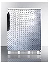 Summit FF7LBIDPL Refrigerator, Silver With Diamond Plate
