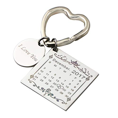 Personalised Custom Engraved Calendar Date Engraved Stainless Steel Keyring & Keychain Memorial Wedding Gift (New Style Heart Ring Silver) (Gift Heart Keychain)