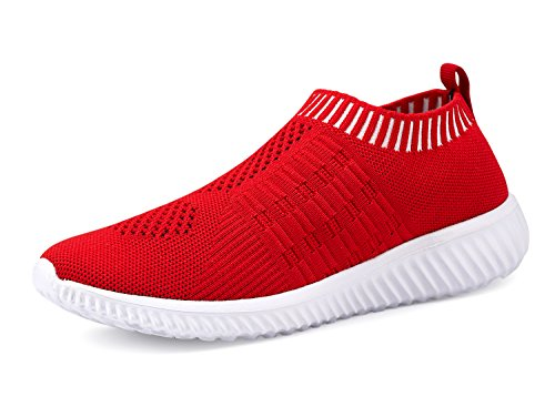 DMGYDAF Women's Lightweight Walking Athletic Shoes Breathable Mesh Sneakers Casual Running Shoes Red 41