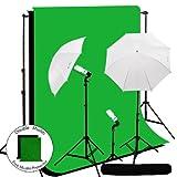 LimoStudio 600 Watt Photography Lighting Light Kit + 10' x 10' Black/Green Muslin Backdrop